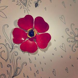 Vintage 1930s Flower Enamel Brooch Pink